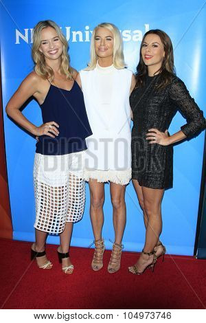 LOS ANGELES - AUG 12:  Marissa Hermer, Caroline Stanbury, Juliet Angus at the NBCUniversal 2015 TCA Summer Press Tour at the Beverly Hilton Hotel on August 12, 2015 in Beverly Hills, CA