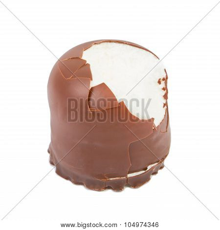 Delicate Dessert Souffle With Chocolate In Hand Isolated On White