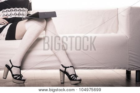 Fashion Trendy Woman With Tablet At Home