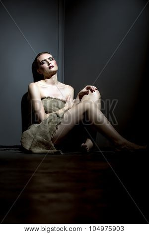 Victim beauty. Concept. Model posing as hostage