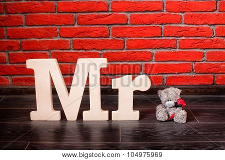 Sign Mr with with a teddy bear