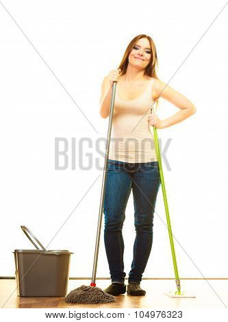 Smiling Cleaning Woman Mopping Floor