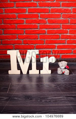 Sign Mr with with a teddy bear. Vertical.