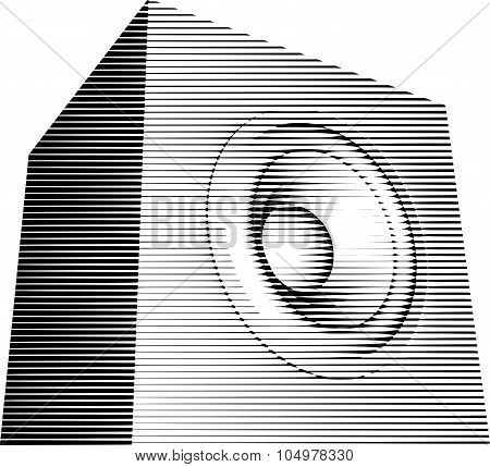 Striped Sound-system Speaker Illustration Icon In Black And White