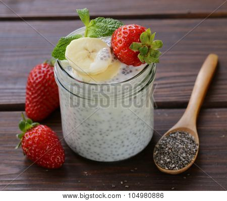 Dessert chia seed pudding with berries and fruits - healthy eating, super food