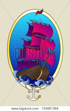 Tattoo ship color vector illustration