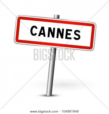 Cannes France - city road sign - signage board