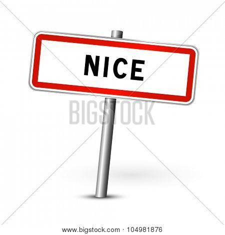 Nice France - city road sign - signage board