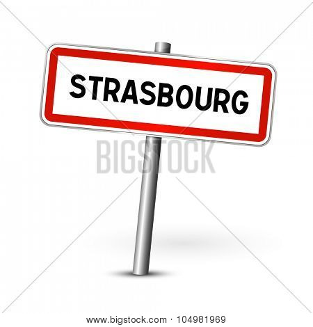 Strasbourg France - city road sign - signage board