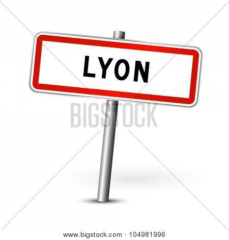 Lyon France - city road sign - signage board