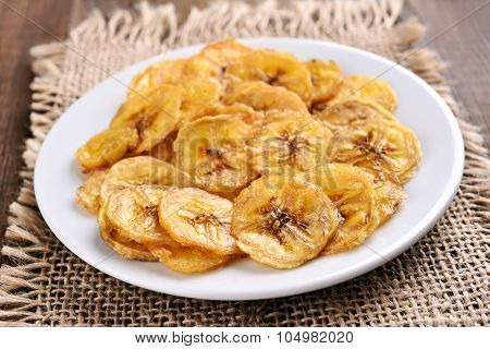 Banana Chips On Country Table