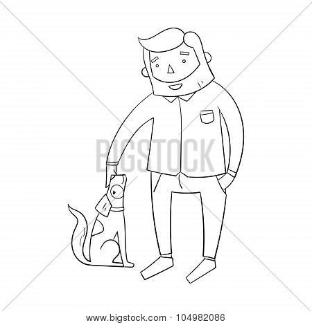 Businessman hipster man with dog
