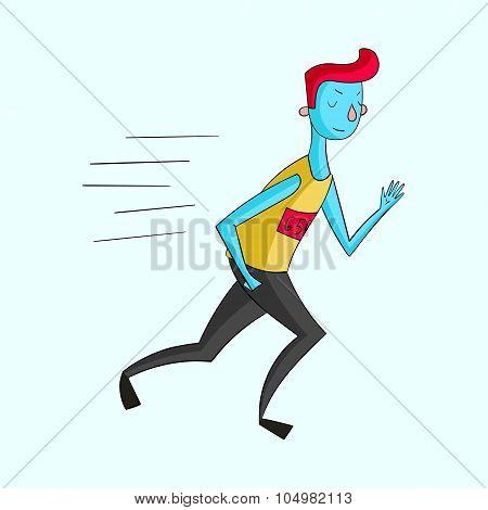 Sportsman runner vivid color vector illustration