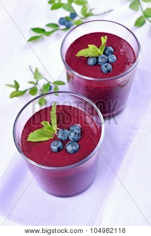 Blueberry Smoothie In Glasses