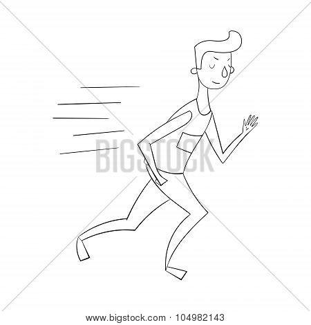 Sportsman runner black and white vector