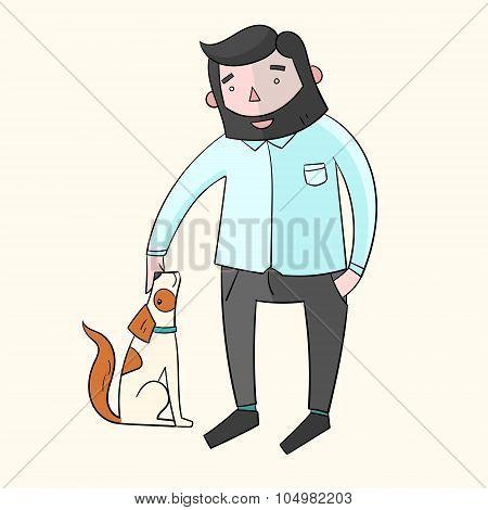 Businessman hipster man with dog color