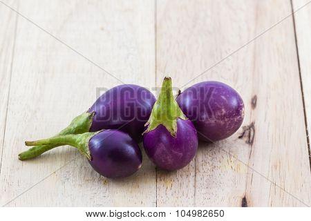 Thai Purple Eggplants Or Purple Small Brinjal.