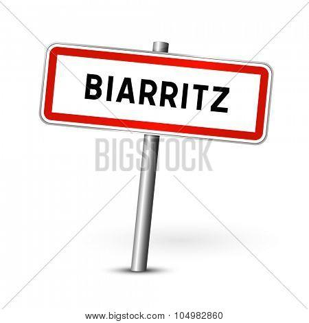 Biarritz France - city road sign - signage board