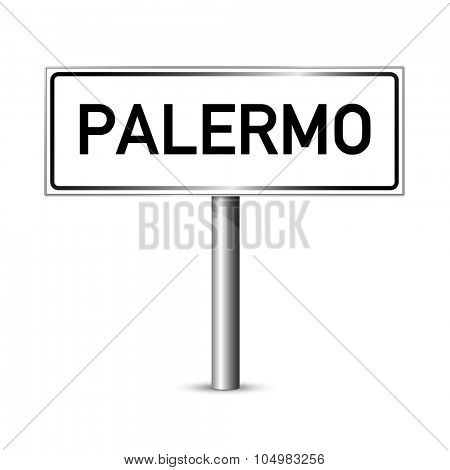 Palermo Italy - city road sign - signage board