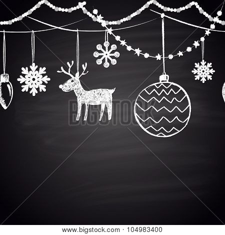Chalk drawn horizontal seamless pattern with snowflakes, Christmas balls, garland and reindeer.