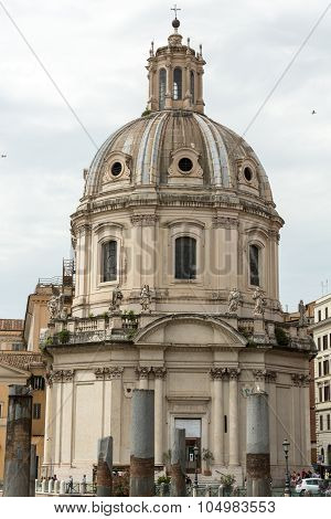 Rome Italy. The Church of the Most Holy Name of Mary at the Trajan Forum (Italian: Santissimo Nome di Maria al Foro Traiano)