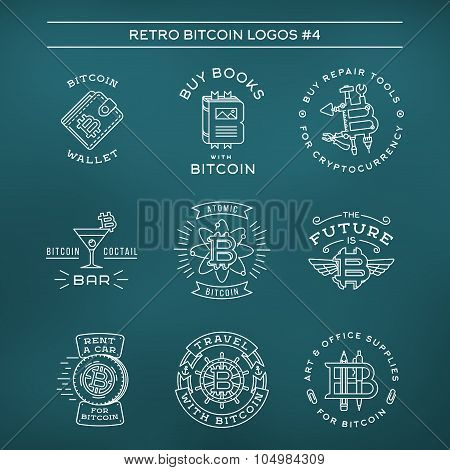 Bitcoin logo templates set. Cryptocurrency badge collection. Digital money icons. Outline coin vecto
