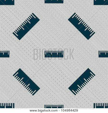 Ruler Sign Icon. School Tool Symbol. Seamless Pattern With Geometric Texture. Vector