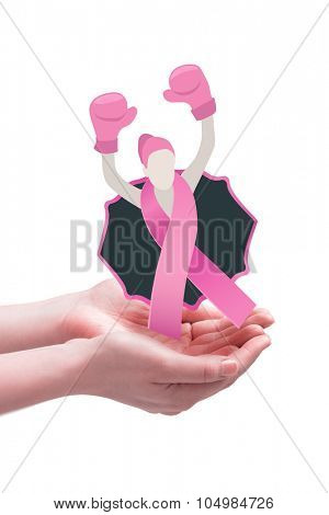 Hands presenting against breast cancer awareness message
