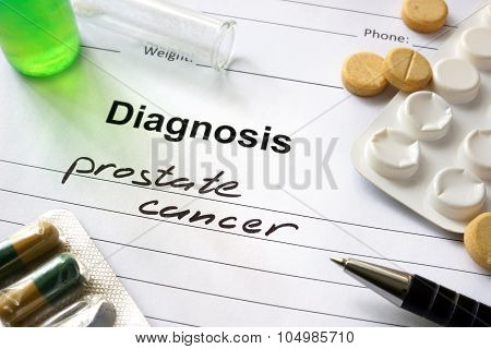 Diagnosis prostate cancer written in the diagnostic form.