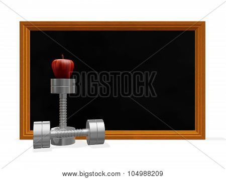 Black Board Dumbbells And Apple