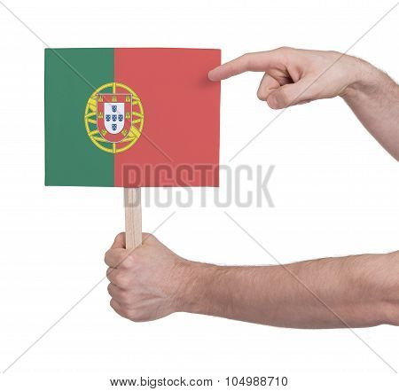 Hand Holding Small Card - Flag Of Portugal
