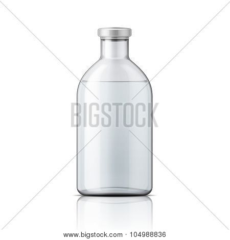 Glass medical bottle with aluminium cap.