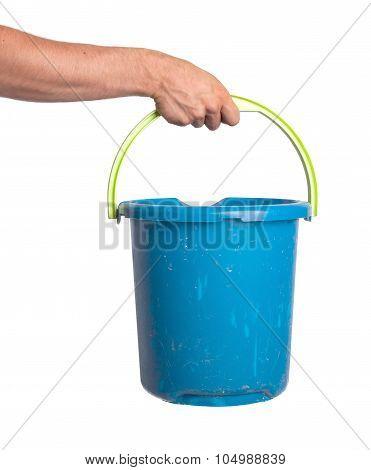 Human Hand Holding Empty Plastic Pail