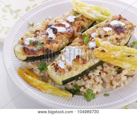 Mozzarella and Barley Stuffed Zucchini with Crispy Blossoms