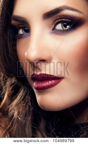 Portrait Of Beautiful Woman With Perfect Make Up And Red Lips