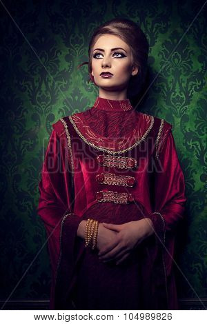 Aristocratic Woman In Vintage Clothes On Rococ Period Pattern