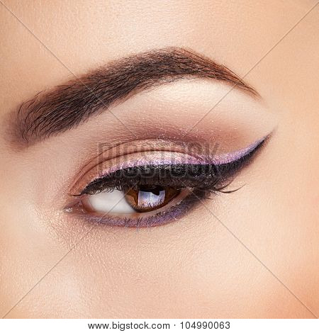 Eye With Professional Make Up Close Shooting