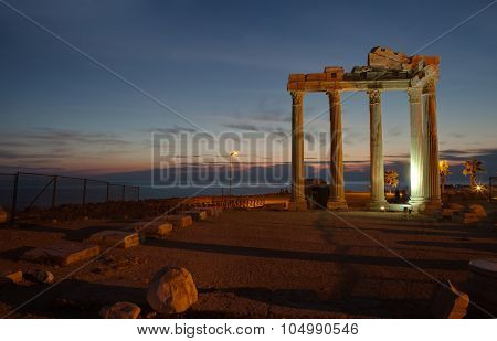 Side,Turkey -  Ruins of The Temple of Apollo at ancient Mediterranean coast city