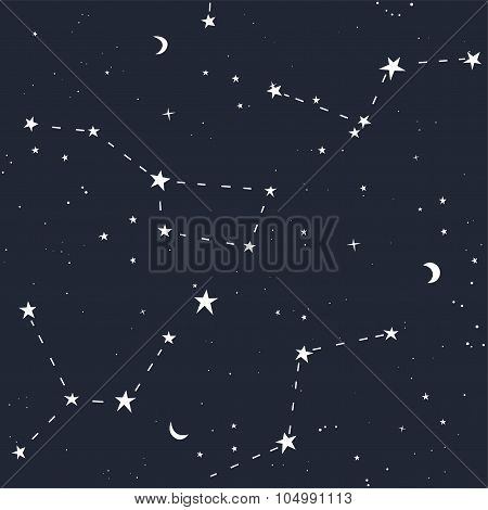 Space stars seamless pattern