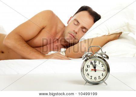 Man Sleeping, Retro Alarm Clock