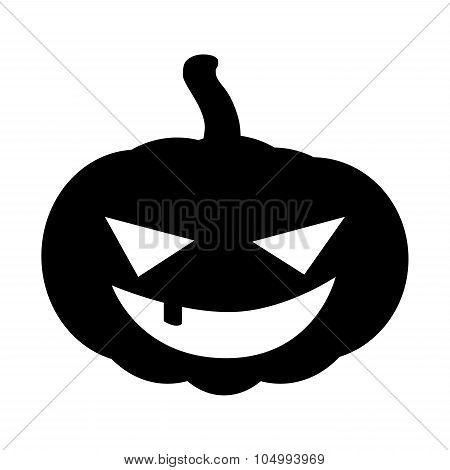 Halloween Pumpkin Silhouette Vector Illustration, Jack O Lantern  Isolated On White Background. Scar