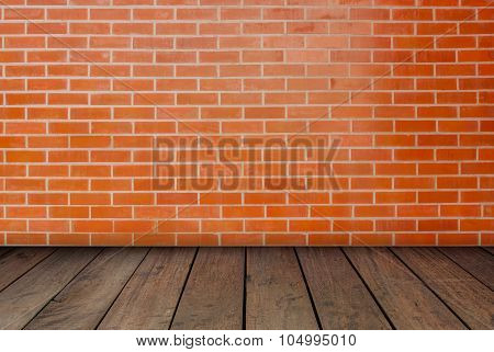 The Red Brick Walls And Wood Floors.