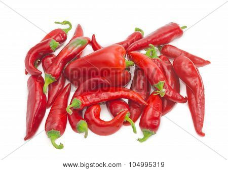 Bell Pepper Among A Pile Of Chili
