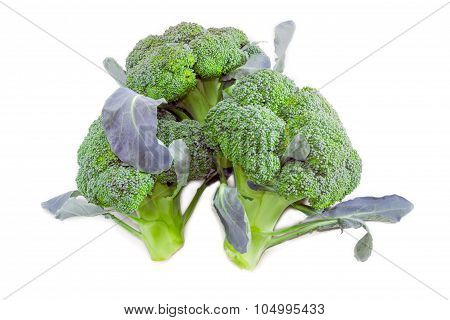 Three Head Of Purple Broccoli On A Light Background