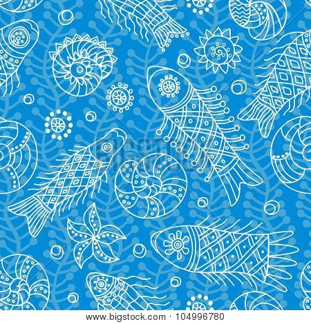 Decorative seamless background pattern with contour drawing of fishes. Textile and wallpaper sea background