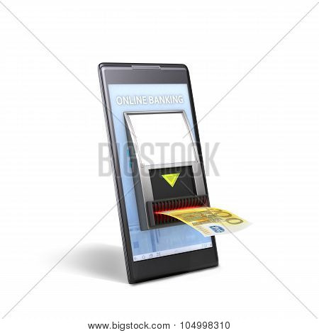 Mobile Payment Concept; Phone With Cash Validator Isolated On White Backgrownd