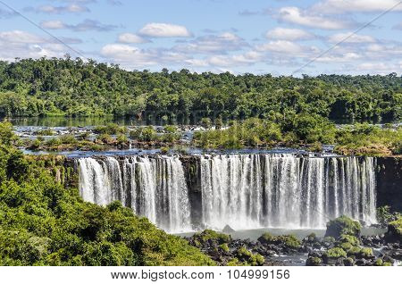 View Of The Falls At Iguazu Falls,  Brazil