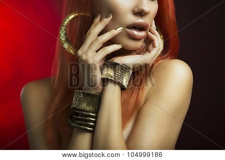 Redhead Women With Golden Make-up, Hands With Golden Manicure. Makeup, Beauty