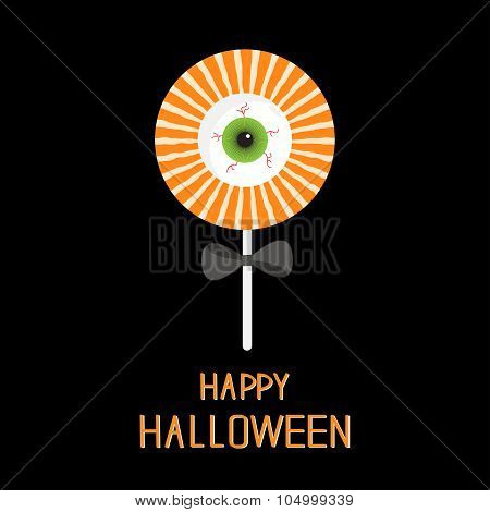 Sweet Candy Lollipop With Green Eyeball. Black Bow. Happy Halloween Card. Flat Design