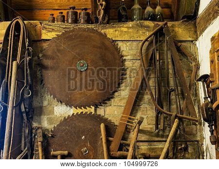 Old Locksmith Tools In The Rustic Barn